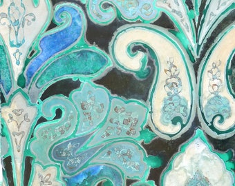 Paisley in turquoise, own technique