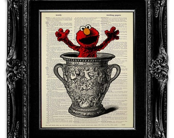 ELMO Art, Kids Wall Art, DICTIONARY Art Print, Dictionary Print, KIDS Print, Elmo Print, Elmo Poster, Elmo Wall Art, Kids Room Decoration