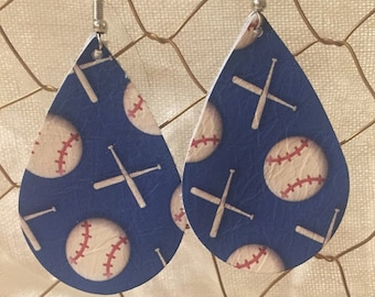 Baseball Leather Earrings by Foolish Heart Designs-Ready to Ship!