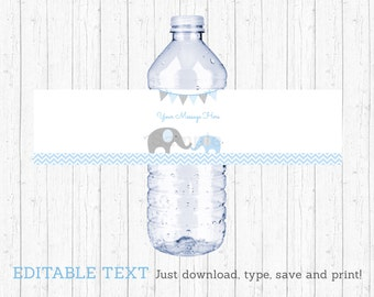 Blue Elephant Water Bottle Labels / Elephant Baby Shower / Chevron Pattern / Baby Blue & Grey / Printable INSTANT DOWNLOAD Editable PDF A228