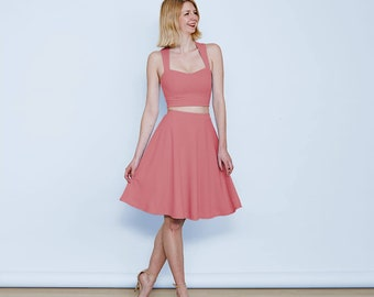 Grace Pastel Formal Two Piece Dress in Dusky Pink. Pastel Pink Matching Crop Top and Skirt Set. Summer Pastel Occasion Co-Ords Set in Pink