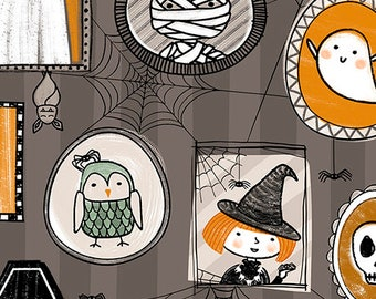 Boos and Ghouls from QT Fabrics - Full or Half Yard of Halloween Creatures on Striped Gray