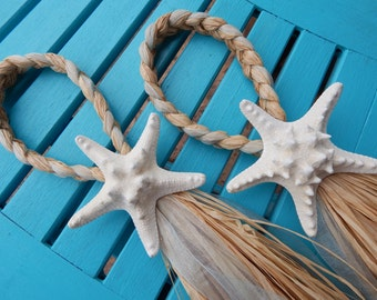 Knobby Starfish Chair Hangers, Beach Pew Bow, Beach Aisle Decorations, Destination Wedding, White Starfish, Beach Wedding