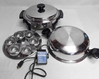 Lifetime Waterless Skillet Liquid Core Stainless Steel Electric Frying Pan w/Egg Poacher Dome Lid Regular Lid Multi Purpose Healthy Cooking