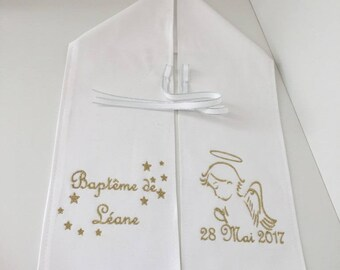 Scarf baptism, embroidered, personalized with name, models Angel, color choice, personalized scarf, baptism boy embroidery