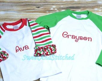 Matching Sibling Raglan Christmas Shirts, Ruffle Raglan Christmas Shirt Monogrammed - Boys Christmas Raglan Tee Personalized