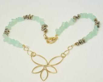 Lotus Flower Necklace, Lotus Pendant, Aqua Necklace, Pastel Necklace, Floral Necklace, Lotus Infinity Necklace, Special Gift for Yogi
