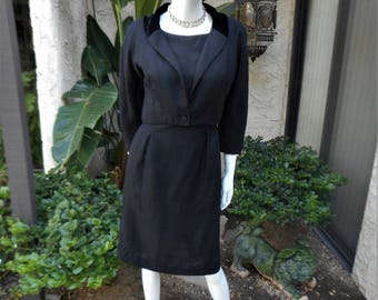 Vintage 1960's Black Dress with Matching Jacket - Size 10