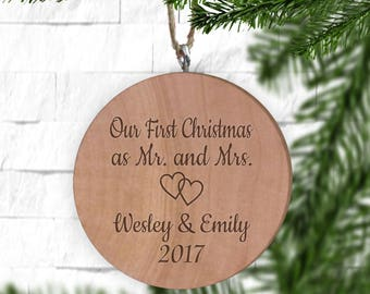 Our First Christmas as Mr and Mrs Ornament, Personalized Ornament, Engraved Wooden Gift Tag, Engraved Wooden Christmas Ornament