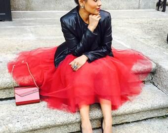 Red  tulle skirt, tutu skirt, red tut.