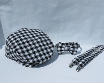 Gingham Flat Cap Bow Tie Suspender, Newsboy Outfit, Baby Flat Cap, Toddler Gingham Hat, Black White Toddler Flat Cap, Gingham Wedding Tie
