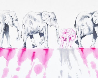 Elephant Painting | Elephant Art by Aidan Weichard | Original Painting on Canvas |  'The March' 60 x 130cm