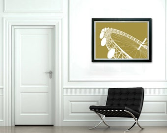 London Eye framed print - Litho styled framed print of the London Eye  - Wall art, Vintage Style, Wall Print, London architecture, Art print