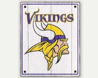 Vikings sign - Print applied to wood - Vikings fan gift - Man cave Boys room Sports Bar decor Fathers Day gift for Dad