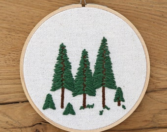 Tree Embroidery Hoop Art, Hand-Stitched Hoop Art, Nature Wall Decor