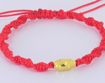Pure Gold Good Luck Red String Bracelet