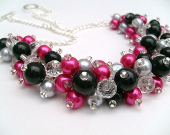 Hot Pink Black and Silver Gray Beaded Necklace with Crystals, Cluster Necklace, Chunky Necklace, Pink Bridesmaid Gift, Wedding Jewelry