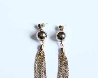 Dione - Vintage 80s Earrings - Disco Ball Earrings - Metal Chain Tassel - Drop Earrings 90s - Grunge - Disco Earring