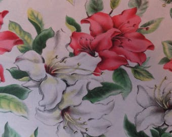 Vintage Pink White Lily Lilies Easter Cottage Garden Gift Wrap Wrapping Paper