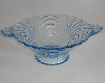 Cambridge Caprice Blue 2-Handle Footed Comport Bowl