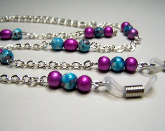 Turquoise/Purple, Eyeglass Chain, One of a Kind Chain for Glasses, Light Weight, 27 inches, Gift Idea