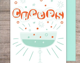 Champagne CHEERS Congrats greeting card