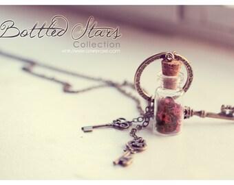 Key necklace, glass bottle necklace, boho jewelry, inspirational gift for women, glitter bottle pendant, skeleton key jewelry, steampunk