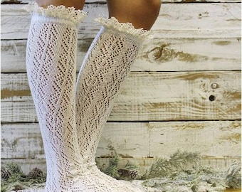 lace boot socks, IVORY scallop lace crochet boot socks, tall knee socks lace, cream boot socks pointelle, lacy socks for women, winter, fall