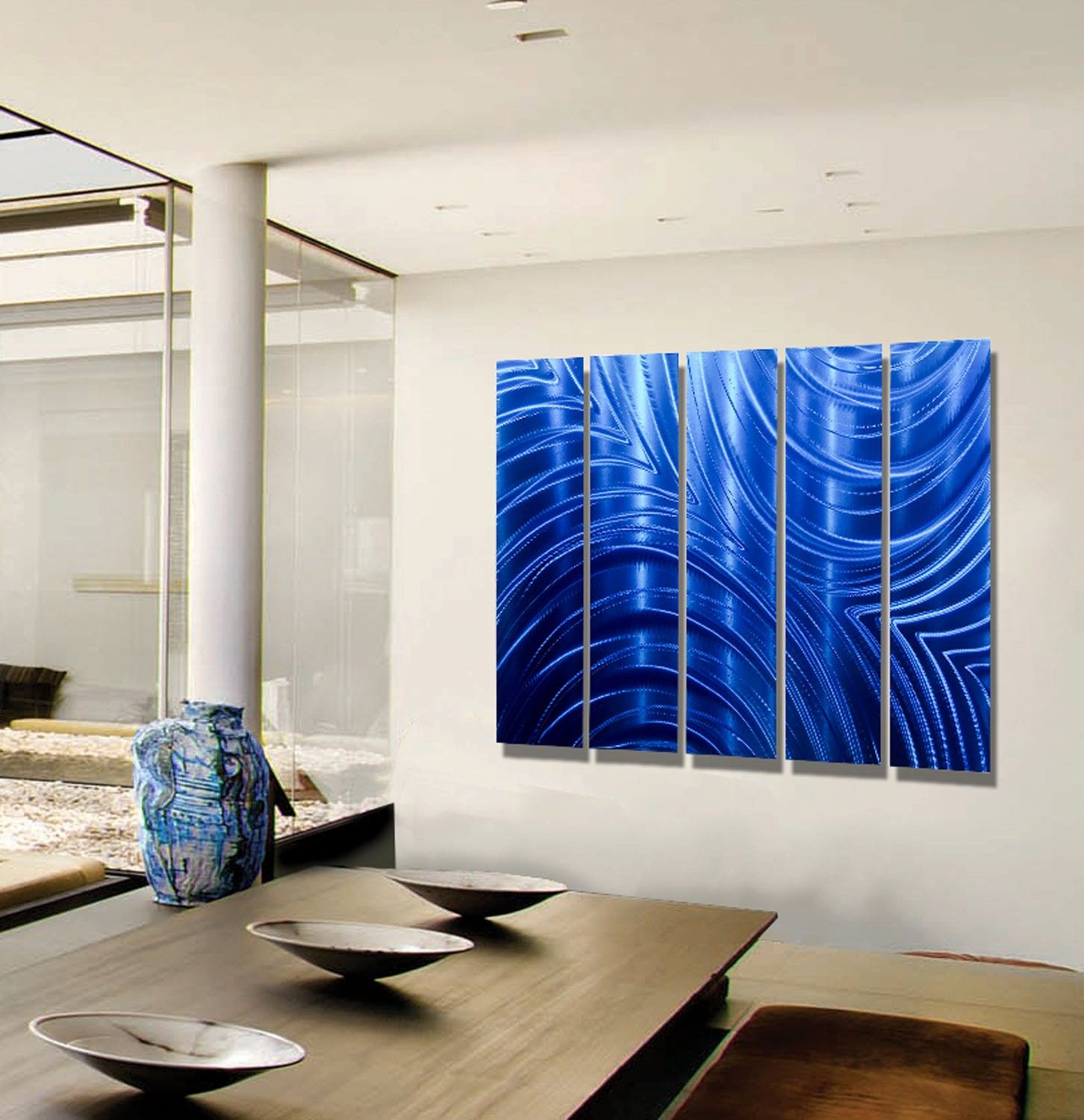 Blue Metal Wall Decor Pleasing Modern Blue Multi Panel Wall Art Huge Indoor Outdoor Metal Review