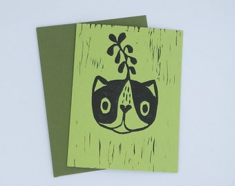 "Handmade Greeting Card-- ""Sprout"" BLANK Avocado"