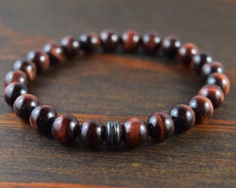 Red Tiger Eye Bracelet. Men's Bead Bracelet. Men's Fashion. Men's Yoga Bracelet. Men's Gift. Tiger Eye Jewelry. Lotus & Lava Bracelet.
