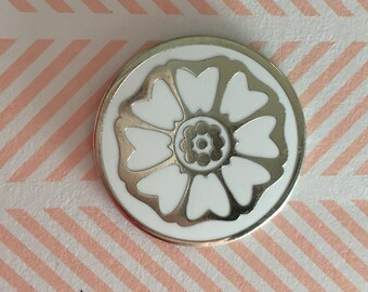 Seconds Sale - White Lotus Tile Enamel Pin