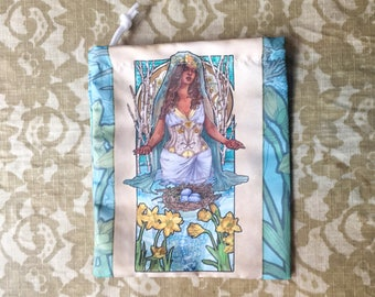 Drawstring Bag Lady of March Art Nouveau Birthstone Series Goddess Ostara with Daffodils Mucha Style Tarot Deck Cosmetic Makeup Bag