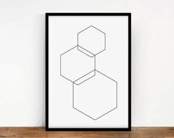 Geometric Print, Hexagon Geometric Poster, Digital Wall Art, Linear Hexagon Print, Geometric Wall Decor, Hexagon Wall Print, Printable Art