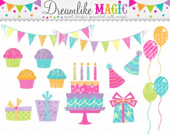 Whimsical Magical Sweet Birthday Party- Clipart for Personal or Commercial Use