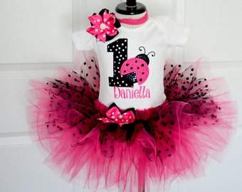 First birthday outfit girl,ladybug birthday outfit,Personalized birthday,Baby Girl 1st Birthday tutu,Cake Smash Outfit,pink ladybug tutu