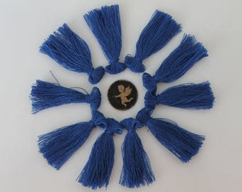 10 to 40 mm indigo blue fringe tassel - handmade - jewelry - hand made