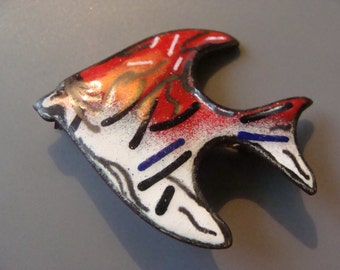Vintage Costume jewelry Enamel on Copper FISH brooch or pin - Red, white, blue & black fish