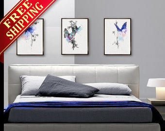 Bedroom Wall Art  Painting Butterfly Art Print  Decor Set 3 Bedroom Butterfly Blue Decor Butterfly Art Print Bedroom Wall Art Painting