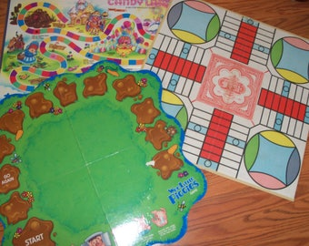 Set of 3 Vintage Game Boards Gameroom Kids Family Wall Decor