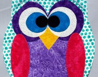 Horned Owl Mug Rug - Blue Dots