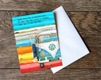 GREETING CARD graduation vw volkswagen van bus beach encouragement motivational art wisdom inspirational friend gift for him her paper goods