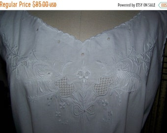 ON SALE ANTIQUE 1900 French Chemise Wonderful Hand Embroidered Birds  Dress Wedding Boudoir