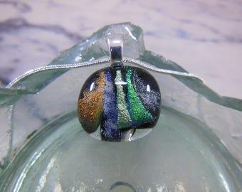 Handmade Fused Glass Multi Coloured Pendant Necklace