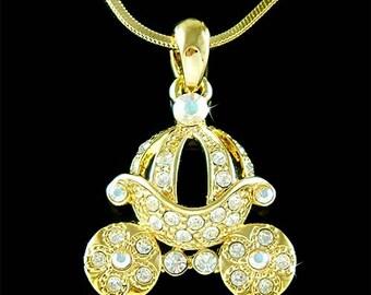 Gold Cinderella Dream Wedding Swarovski Crystal Princess Pumpkin Carriage Pendant Necklace Christmas Best Friend Gift New