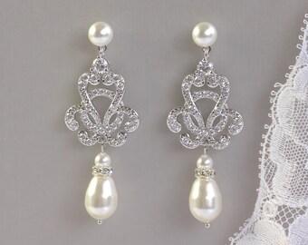 Wedding Earrings, Vintage Bridal Earrings, Ivory Pearl Drop Earrings, Pearl Stud Bridal Earrings,  CELINE PP