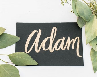 Gold embossed black place cards