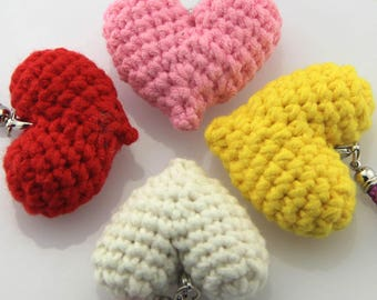 Crocheted ornament heart,Children toy,Pink,red,yellow,white,Cotton thread  kid doll crochet,Wedding 3D Heart,handicraft,customize,ecorations