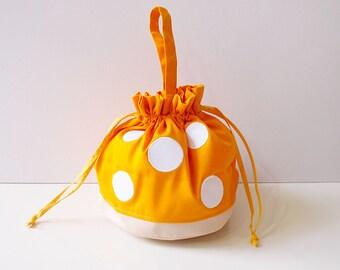 Yellow Mushroom Bag, Toadstool Bag, Mushroom Purse, Drawstring Bag Women, Drawstring Bag Kids, Drawstring Pouch, Twinning Bag Outfits