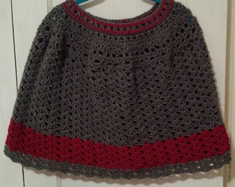 Hand Crochet Capelet or Poncho color is Grey and Red